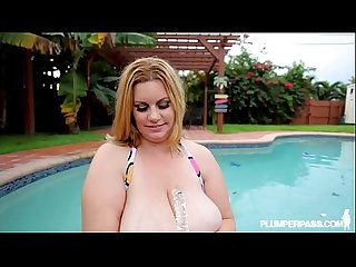 Huge Tit BBW MILF Plays in Pool and Gets Fucked