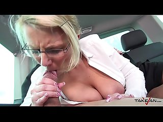 Ugly milf teacher get sperm covered her glasses in van