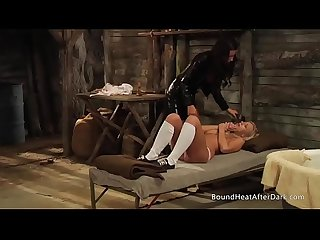 Slaves homecoming chained with maid S assistance