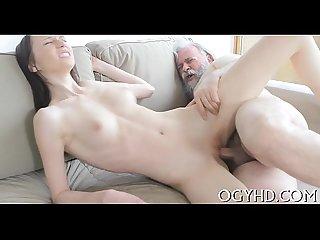 Old cock enters juvenile cum hole
