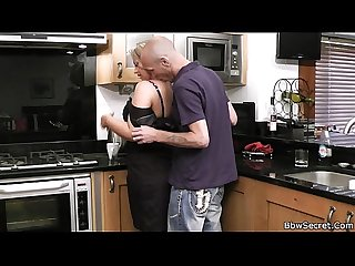 Husband caught cheating in the kitchen