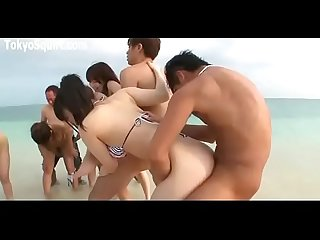 Outdoors orgy bikini girls Japan porno