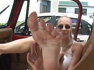 Foot fun in the car