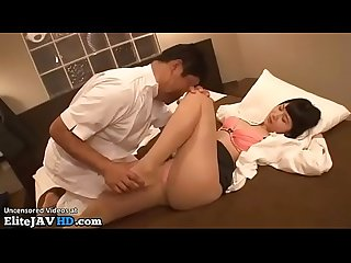 Japanese massage with office lady in pantyhose