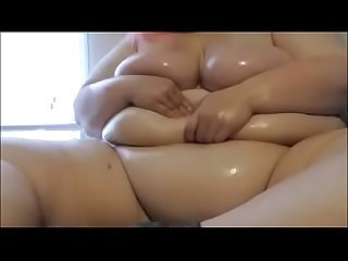 Amateur BBW fatstonerchick oils up huge body and tits