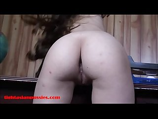 Small tiny Asian 18 year Old school Girl gets tight pussy broken and facial