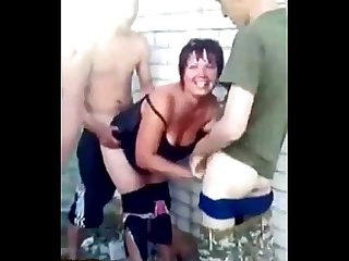 RUSSIAN SOLDIERS FUCK A SLUT OUTDOOR