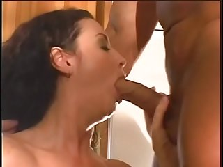 Tall MILF gets her shaved pussy licked on kitchen counter and fucked by big cock