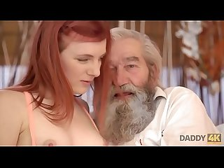 DADDY4K. Chick's shaved pussy is fingered by old man and son in turn