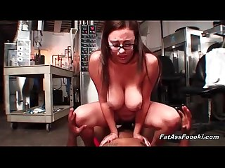 Chubby latina rides big black cock
