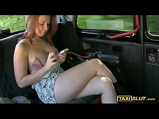 Amateur candi flashes her big tits and drilled with pervert driver