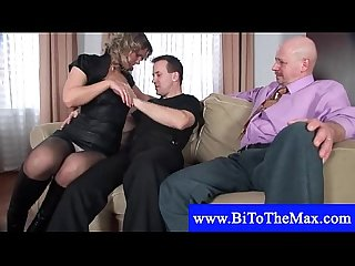 Mature couple seduces a bisexual boy