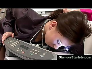 Sexy glam office lesbos make home video together