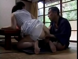 Japanese milf wife are repeatedly sexually harassed by her father in law when husband is at home pt2