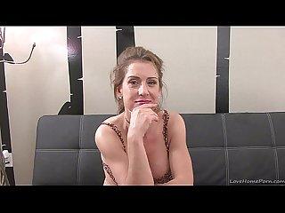 Cute brunette enjoys giving herself intense orgasms
