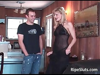 Hot mature bombshell blonde lies down