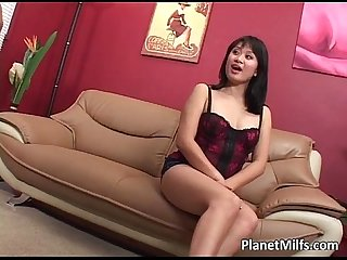 Very horny Asian Milf rides big cock