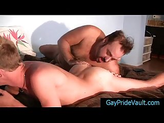Blonde twink getting his dick sucked by old gay bear by gaypridevault