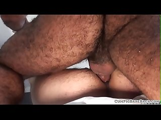 Dominant bear covers otters asshole with jizz