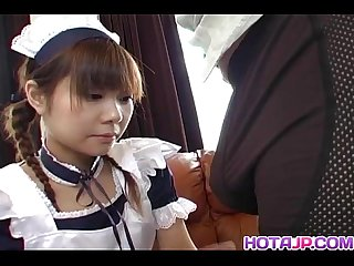 Natsumi asian maid in cosplay gives amazing blowjob and gets cum